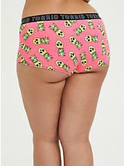 Torrid Logo Neon Pink Pineapple Skulls Cotton Boyshort Panty, TROPICAL SKULL, alternate