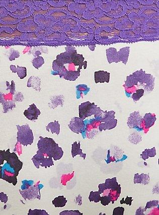 Plus Size Purple Leopard Wide Lace Cotton Brief Panty, PAINTED LEOPARD- WHITE, alternate