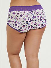 Purple Leopard Wide Lace Cotton Brief Panty, PAINTED LEOPARD- WHITE, alternate