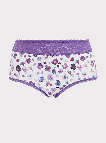 Purple Leopard Wide Lace Cotton Brief Panty, PAINTED LEOPARD- WHITE, hi-res