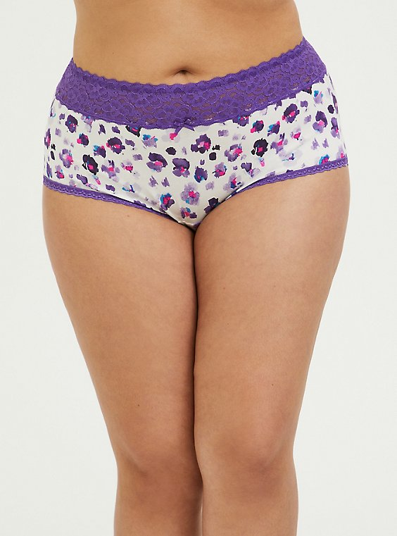 Plus Size Purple Leopard Wide Lace Cotton Brief Panty, , hi-res