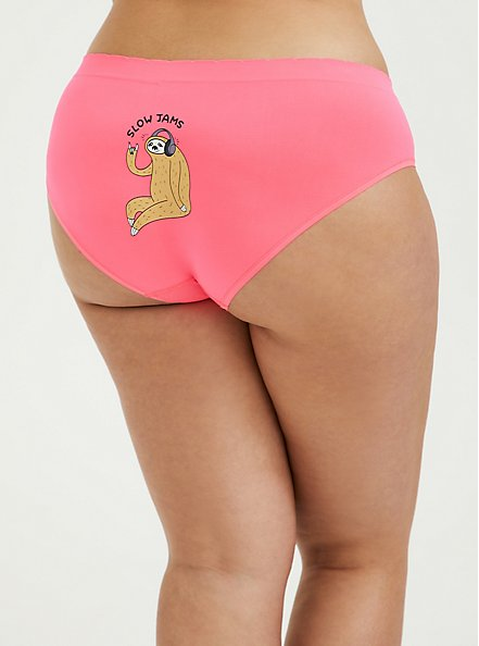 Slow Jams Sloth Neon Pink Seamless Hipster Panty, SLOW JAMS- PINK, hi-res
