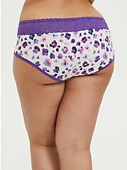 Purple Leopard Wide Lace Cotton Cheeky Panty, PAINTED LEOPARD- WHITE, alternate