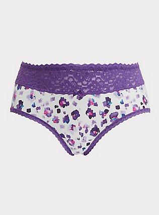Plus Size Purple Leopard Wide Lace Cotton Cheeky Panty, PAINTED LEOPARD- WHITE, flat