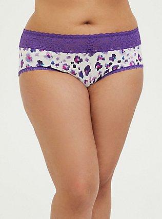 Plus Size Purple Leopard Wide Lace Cotton Cheeky Panty, PAINTED LEOPARD- WHITE, hi-res