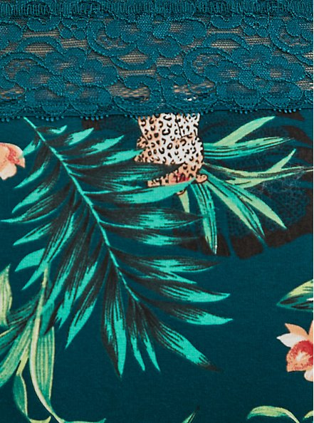 Teal Tropical Leopard Cotton Cheeky Panty, SECRET JUNGLE- TEAL, alternate