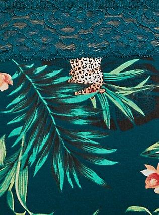 Dark Teal Tropical Leopard Cotton Cheeky Panty, SECRET JUNGLE- TEAL, alternate