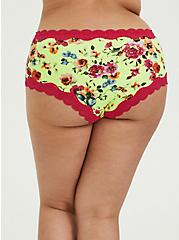 Plus Size Neon Yellow Floral Cotton Cheeky Panty, SUMMER IT UP FLORAL, alternate