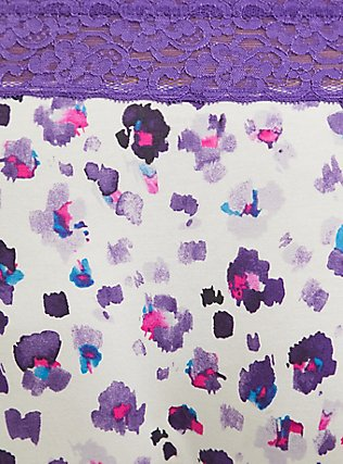 Purple Leopard Cotton Hipster Panty , PAINTED LEOPARD- WHITE, alternate