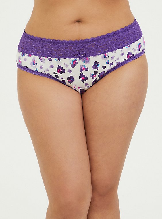 Purple Leopard Cotton Hipster Panty , , hi-res