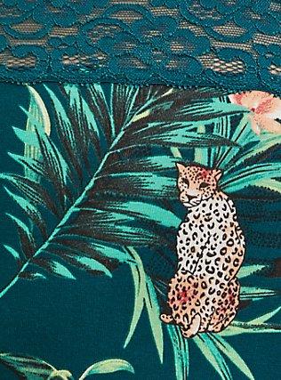 Dark Teal Tropical Leopard Cotton Hipster Panty , SECRET JUNGLE- TEAL, alternate