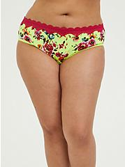 Neon Yellow Floral Wide Lace Cotton Hipster Panty, SUMMER IT UP FLORAL, hi-res