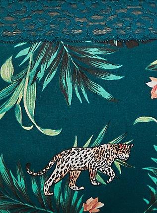 Plus Size Dark Teal Tropical Leopard Wide Lace Cotton Boyshort Panty, SECRET JUNGLE- TEAL, alternate