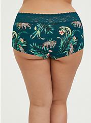 Teal Tropical Leopard Wide Lace Cotton Boyshort Panty, SECRET JUNGLE- TEAL, alternate