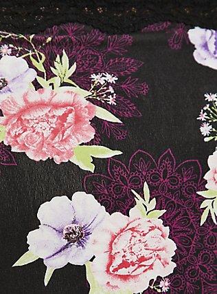 Black Floral Medallion Cotton Brief Panty, MEDALLION FLORALS-BLACK, alternate
