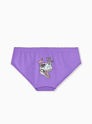 Plus Size Purple Dinosaurus Seamless Hipster Panty , DINO PARTY, hi-res