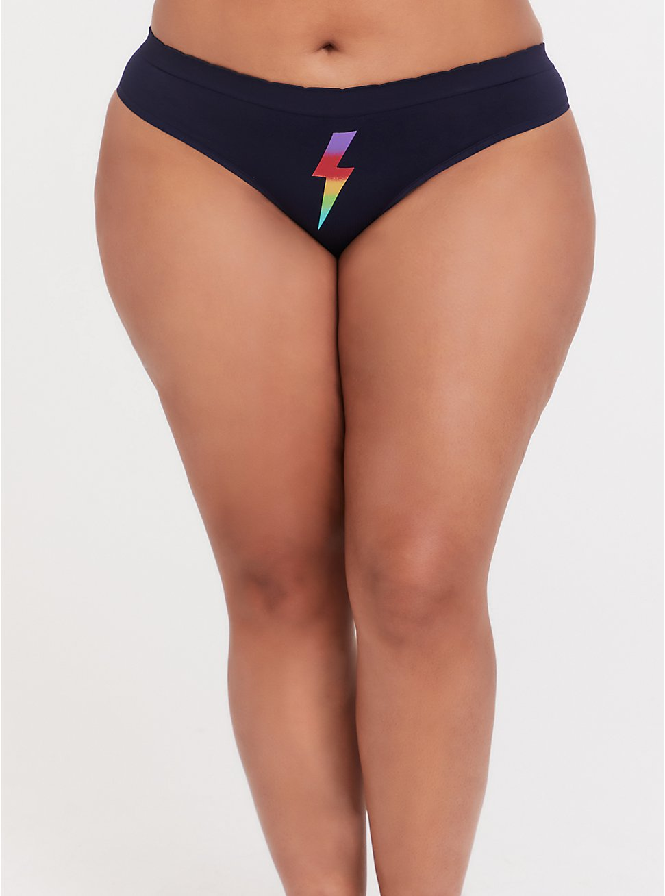Plus Size Navy & Rainbow Bolt Seamless Thong Panty, LIGHTNING BOLT, hi-res