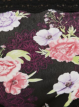 Black Floral Medallion Cotton Cheeky Panty, MEDALLION FLORALS-BLACK, alternate