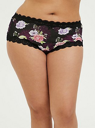 Black Floral Medallion Cotton Cheeky Panty, MEDALLION FLORALS-BLACK, hi-res