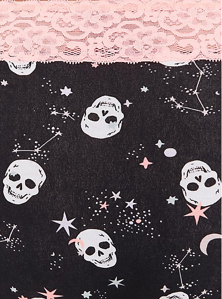 Plus Size Black Starry Skulls & Peach Wide Lace Cotton Thong Panty, STARRY SKULL, alternate
