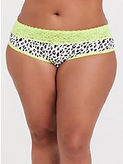 White Leopard & Neon Yellow Wide Lace Cotton Hipster Panty, MICRO LEOPARD- WHITE, hi-res