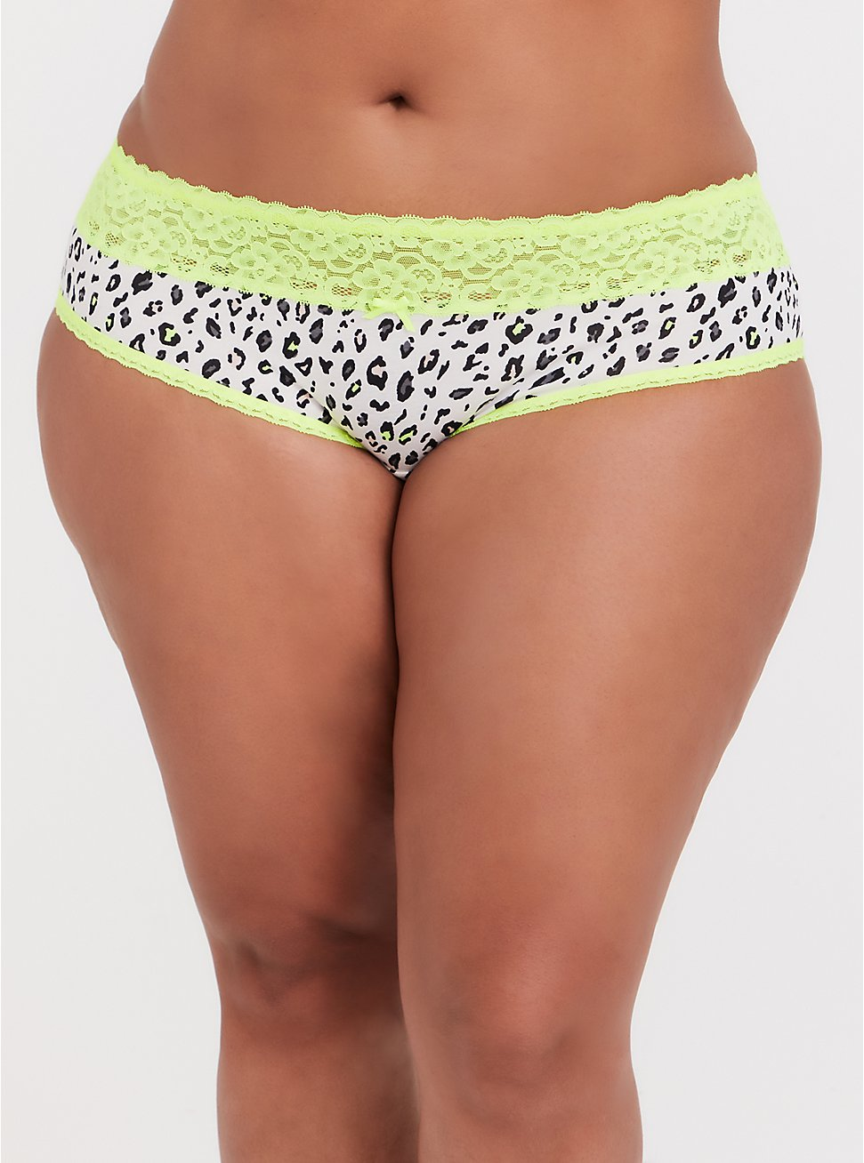 Plus Size White Leopard & Neon Yellow Wide Lace Cotton Hipster Panty, MICRO LEOPARD- WHITE, hi-res