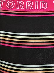 Plus Size Torrid Logo Black & Multi Stripe Cotton Hipster Panty, HORIZONTAL CHARMED- BLACK, alternate