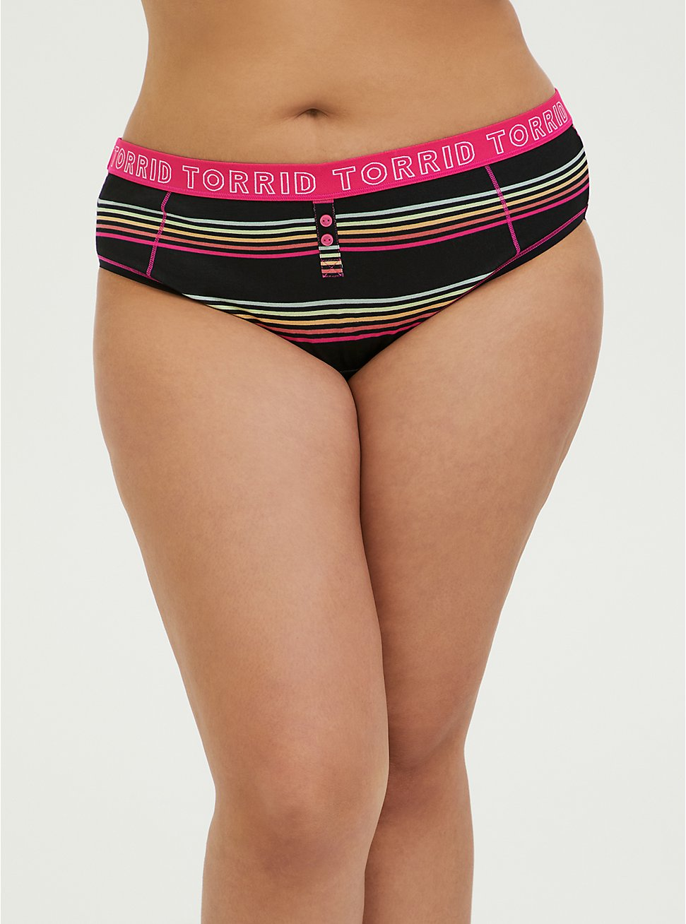 Plus Size Torrid Logo Black & Multi Stripe Cotton Hipster Panty, HORIZONTAL CHARMED- BLACK, hi-res
