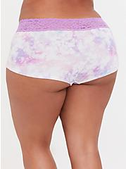Pink & Purple Tie Dye Wide Lace Cotton Boyshort Panty, COLORFUL NICE DYE, alternate