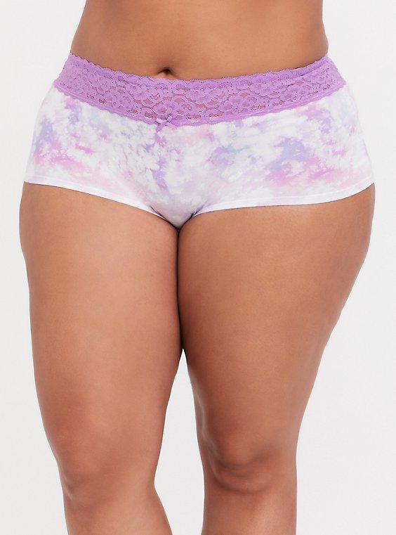 Pink & Purple Tie Dye Wide Lace Cotton Boyshort Panty, , hi-res