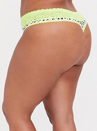 Plus Size White Leopard & Neon Yellow Wide Lace Cotton Thong Panty, MICRO LEOPARD- WHITE, alternate