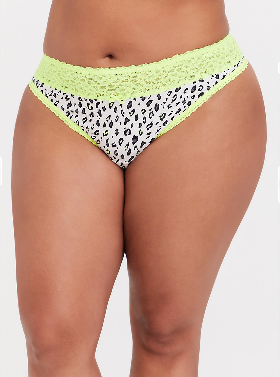 White Leopard & Neon Yellow Wide Lace Cotton Thong Panty, MICRO LEOPARD- WHITE, hi-res