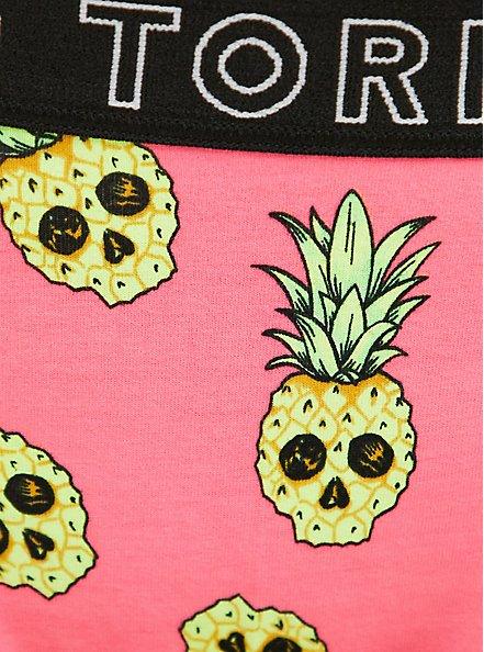 Plus Size Torrid Logo Coral Pineapple Skulls Cotton Thong Panty, TROPICAL SKULL, alternate