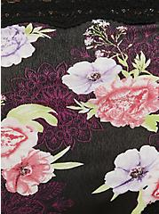 Plus Size Black Floral Medallion Cotton Thong Panty, MEDALLION FLORALS-BLACK, alternate