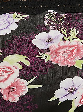 Black Floral Medallion Cotton Thong Panty, MEDALLION FLORALS-BLACK, alternate