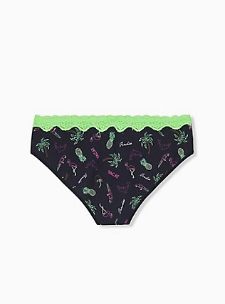 Black Tropical & Neon Green Wide Lace Cotton Hipster Panty, ANOTHER DRINK- BLACK, alternate