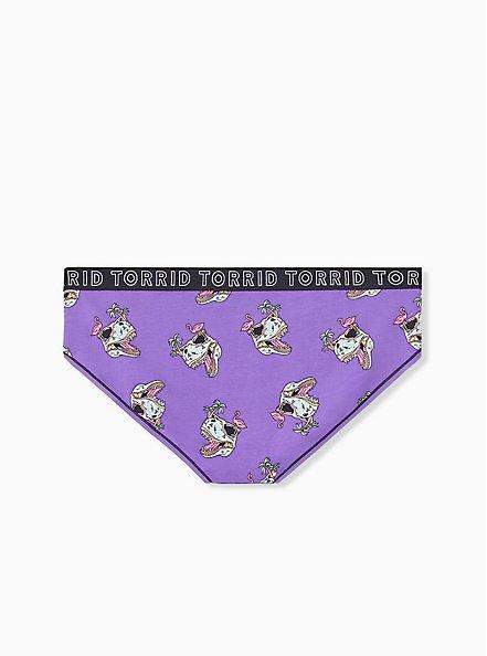 Torrid Logo Purple Dinosaur Cotton Hipster Panty, DINO PARTY, alternate