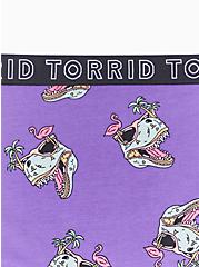 Torrid Logo Purple Dinosaur Cotton Hipster Panty, DINO PARTY, alternate