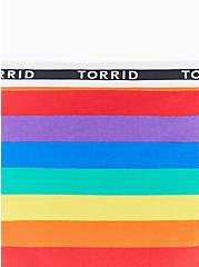 Torrid Logo Rainbow Stripe Cotton Hipster Panty, RAINBOW RUGBY STRIPE, alternate