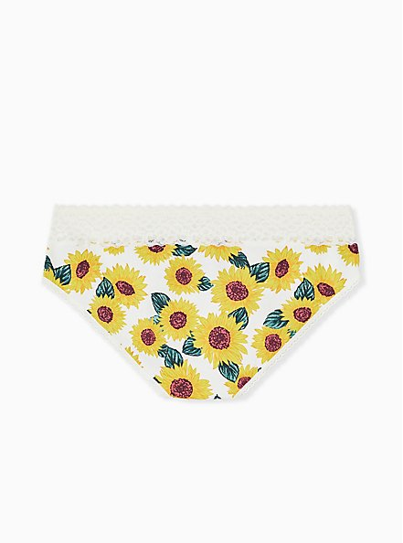 Ivory Sunflower Wide Lace Cotton Hipster Panty, SUNFLOWERS, alternate