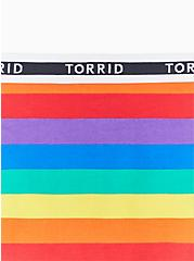 Torrid Logo Rainbow Stripe Cotton Cheeky Panty, RAINBOW RUGBY STRIPE, alternate