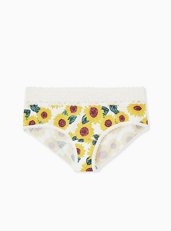 Plus Size Ivory Sunflower Wide Lace Cotton Cheeky Panty, , hi-res