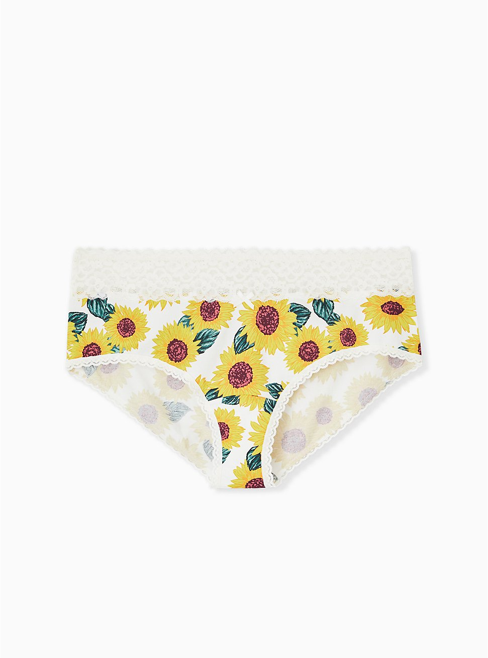 Ivory Sunflower Wide Lace Cotton Cheeky Panty, SUNFLOWERS, hi-res