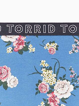 Torrid Logo Blue Floral Cotton Cheeky Panty, ROSE STRIPE FLORAL- BLUE, alternate