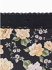 Black Floral Wide Lace Cotton Cheeky Panty, TANGLED FLORAL, alternate