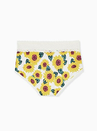 Ivory Sunflower Wide Lace Cotton Brief Panty, SUNFLOWERS, alternate