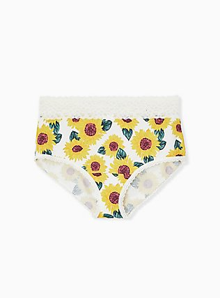 Ivory Sunflower Wide Lace Cotton Brief Panty, SUNFLOWERS, hi-res