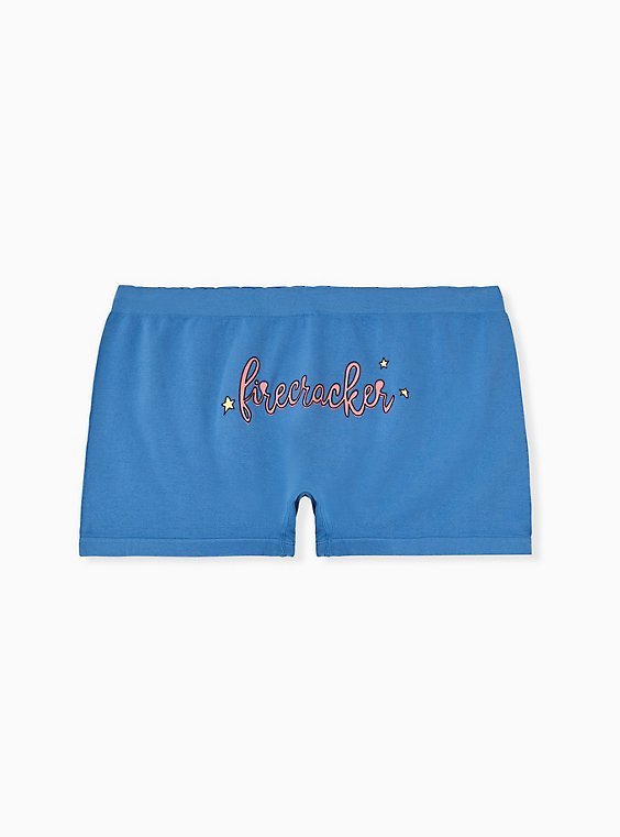 Firecracker Blue Seamless Boyshort Panty, , hi-res