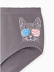 Grey American Cat Seamless Brief Panty , AMERICANA KITTY- BLACK, alternate
