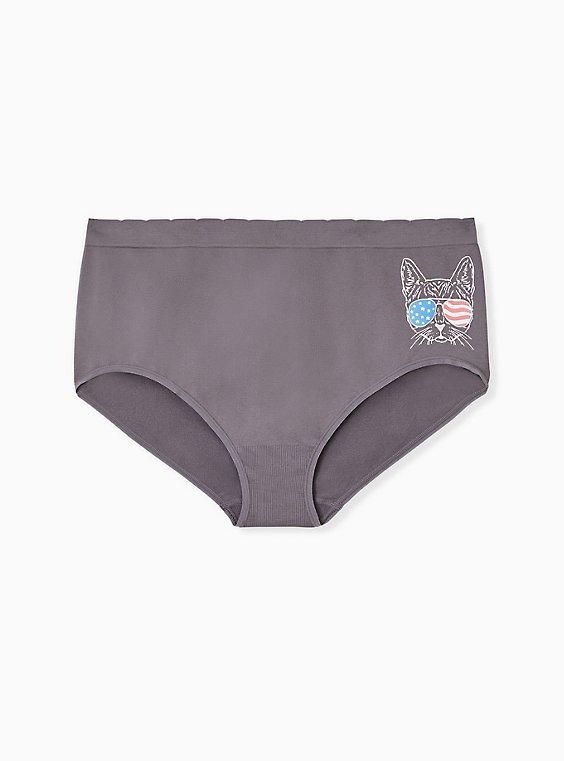 Plus Size Grey American Cat Seamless Brief Panty , , hi-res
